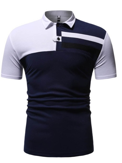 Casual Button Color Block Polo Neck Men's Shirt