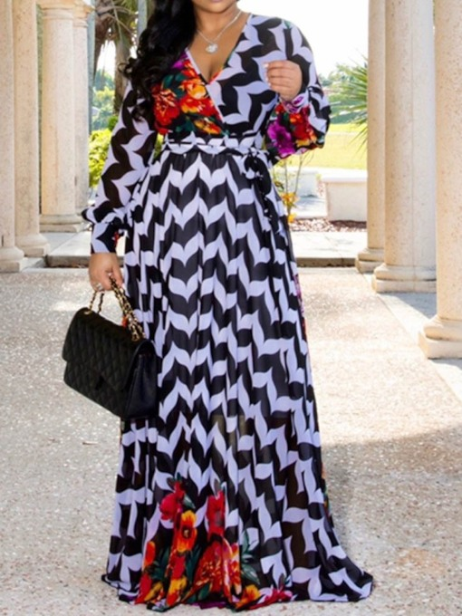 V-Neck Long Sleeve Print Floor-Length Pullover Women's Maxi Dress
