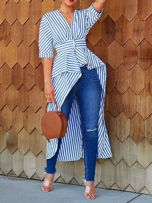 V-Neck Stripe Falbala Long Women's Blouse