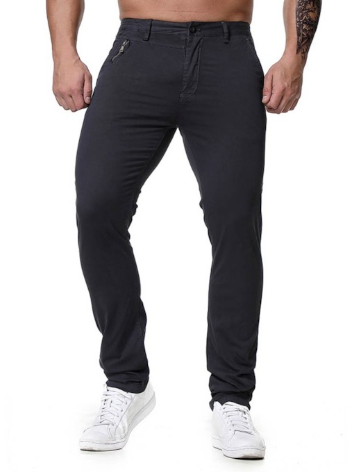 Plain Zipper Pencil Pants Four Seasons Men's Casual Pants