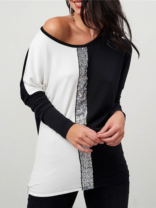 Mid-Length Round Neck Long Sleeve Color Block Loose Women's T-Shirt