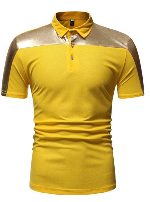 Casual Patchwork Color Block Polo Neck Men's Polo Shirt