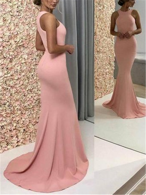 Trumpet Floor-Length Halter Sweep Train Evening Dress 2019