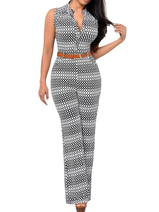 Button Full Length Western Loose Women's Jumpsuit