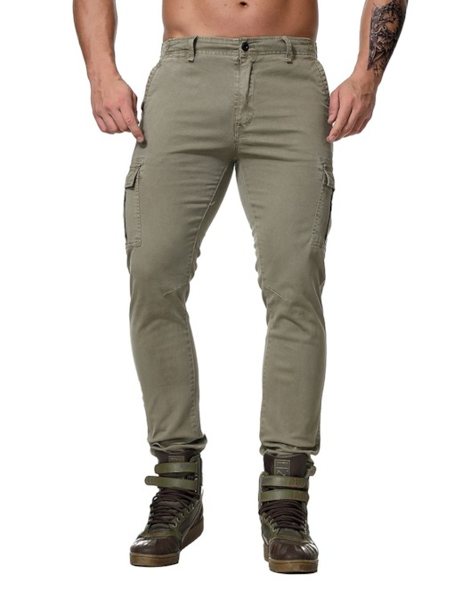 Overall Plain Button Casual Men's Casual Pants
