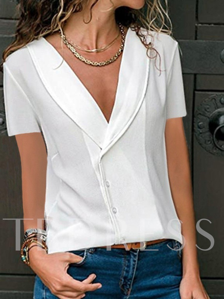 Plain Short Sleeve Women's Blouse