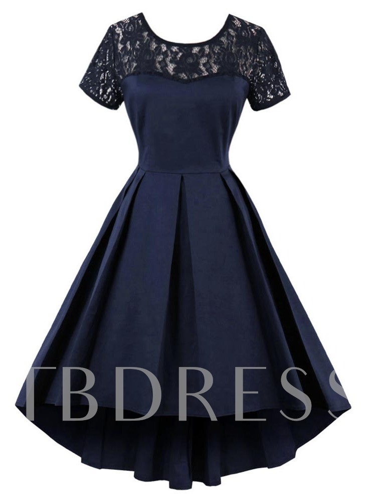 Dark Blue Lace Patchwork Women's Day Dress