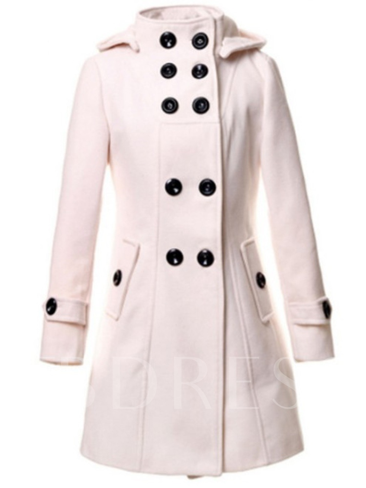 Plain Double-breasted with Tight Waist Women's Overcoat