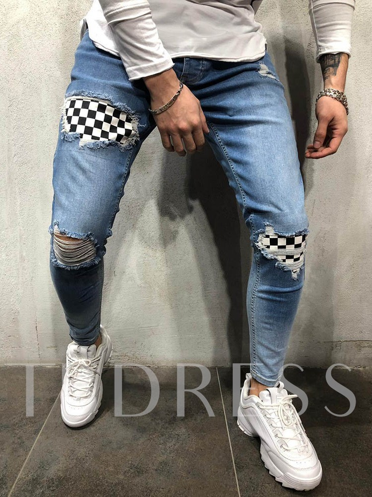 Stonewashed Color Block Zipper Thin Pencil Denim Pants All-Seasons Ankle Length Men's Jeans