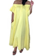 Off Shoulder Pleated Short Sleeve Pullover Women's Maxi Dress