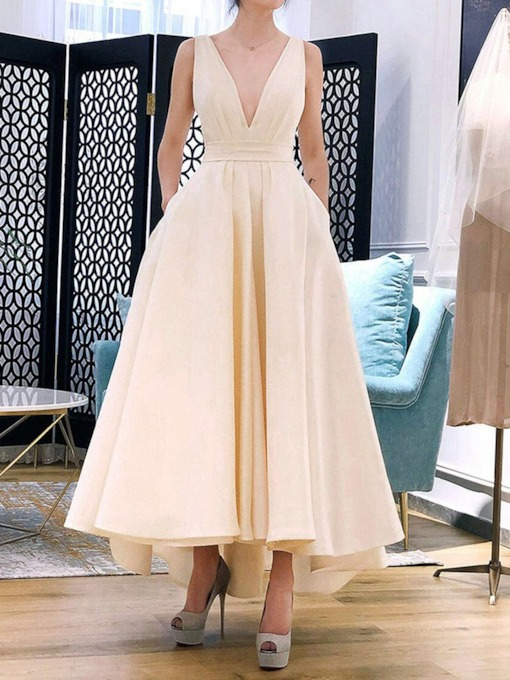 V-Neck Bowknot Sleeveless Ladylike Women's Maxi Dress