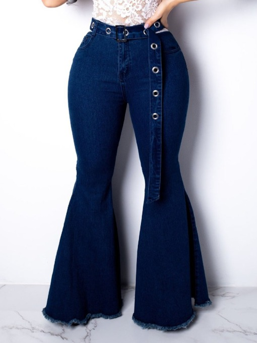 Belt Plain Bellbottoms Zipper Women's Jeans