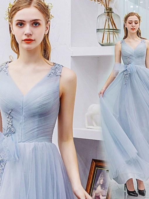 A-Line Appliques V-Neck Sleeveless Prom Dress 2021
