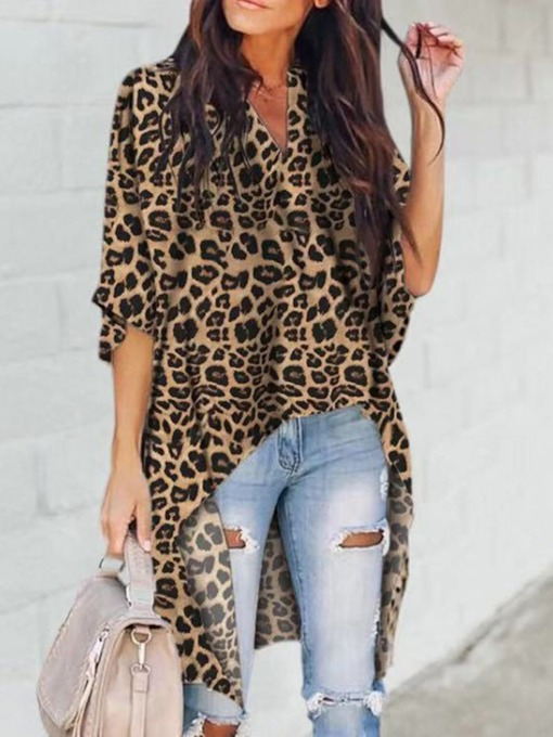 Leopard Print V-Neck Three-Quarter Sleeve Women's Blouse