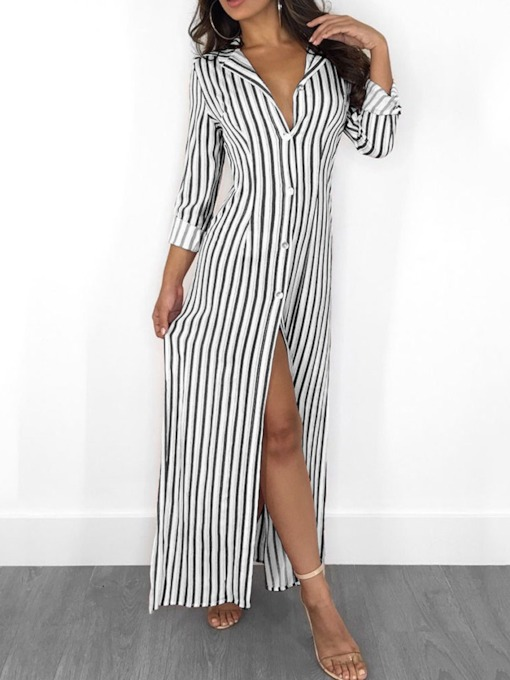 Split Stripe Lapel Long Sleeve Regular Women's Maxi Dress