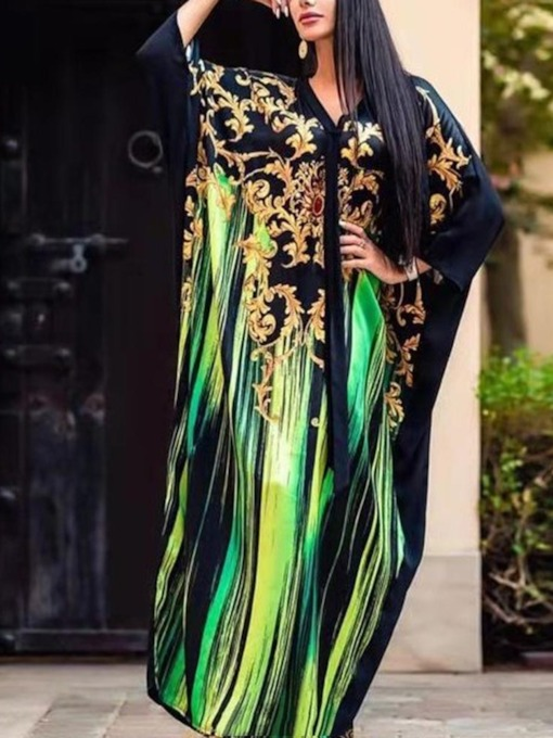 V-Neck Split Nine Points Sleeve Fall Women's Maxi Dress