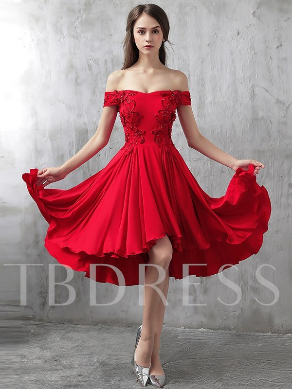 Short Sleeves Off-The-Shoulder Asymmetry Trumpet Homecoming Dress 2019