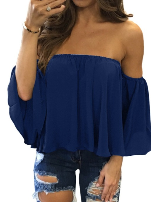 Patchwork Plain Off Shoulder Three-Quarter Sleeve Women's Blouse