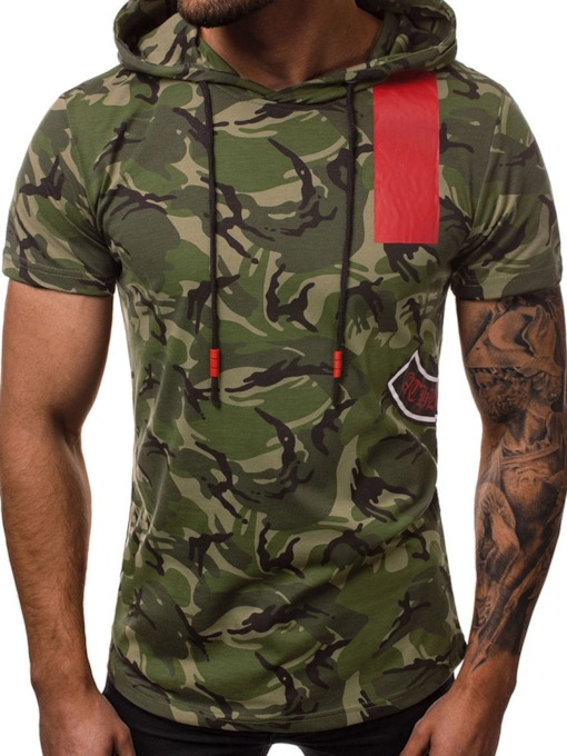 Camouflage Print Hooded Casual Loose Men's T-shirt