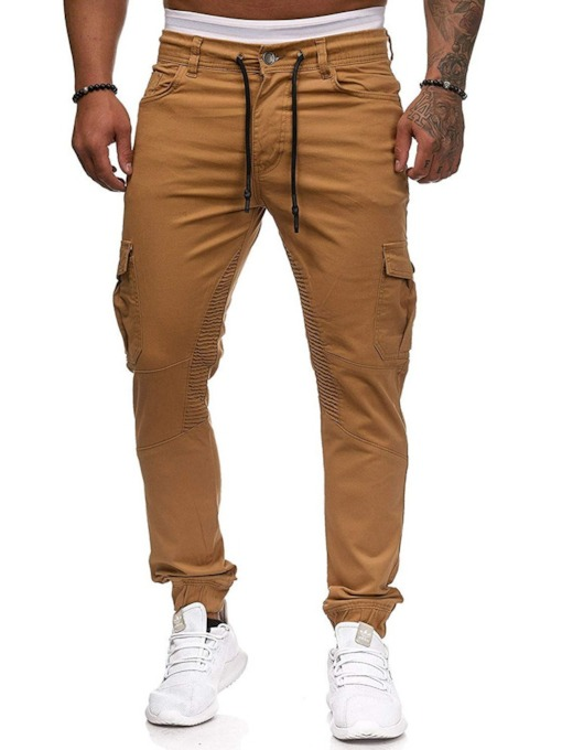 Pocket Plain Overall Lace-Up Men's Casual Pants