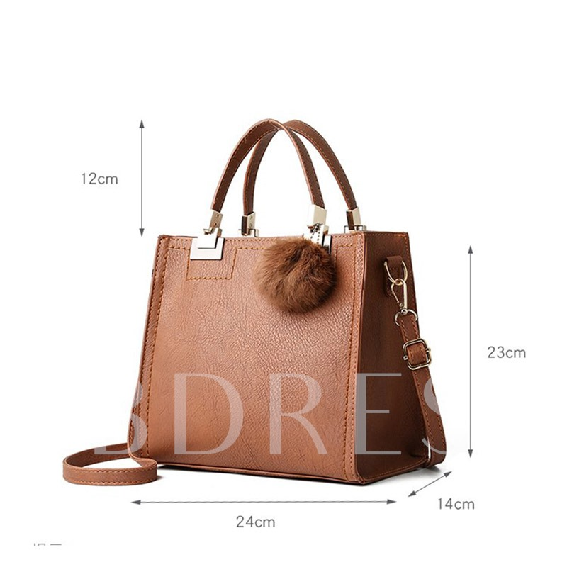 Fashion PU Plain Square Tote Bags