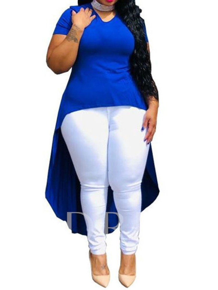 Plus Size -Neck Short Sleeve Long Plain Slim Women's Blouse