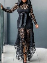 Long Sleeve Lace-Up Asymmetrical Women's Maxi Dress