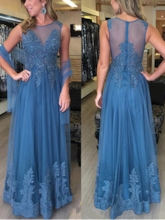 Sheer Neck Appliques Beading Mother of the Bride Dress