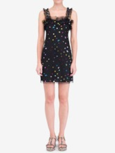 Spaghetti Strap Mesh Sequins Sweet Women's Day Dress