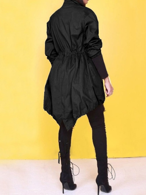 Zipper Asymmetric Stand Collar Mid-Length Long Sleeve Women's Trench Coat