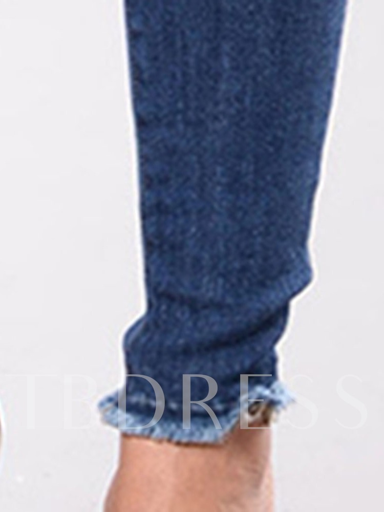 Pencil Pants Floral Embroidery Skinny Women's Jeans