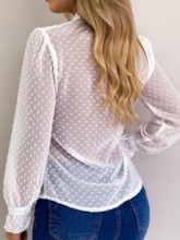 Regular V-Neck Polka Dots See-Through Long Sleeve Women's Blouse