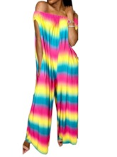 Full Length Color Block Western Loose Women's Jumpsuit