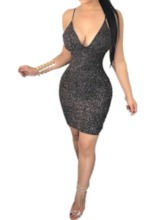 Lurex V-Neck Sleeveless Hollow Women's Bodycon Dress