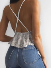 Polyester Backless Summer Spaghetti Straps Women's Tank Top