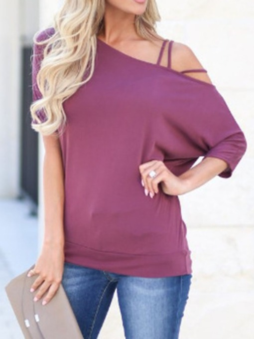 Three-Quarter Sleeve Standard Plain Loose Women's T-Shirt