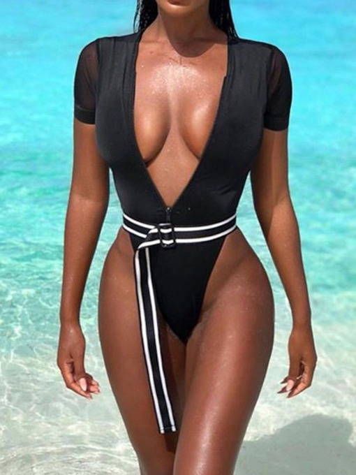 Plain One Piece Sexy Women's Swimwear