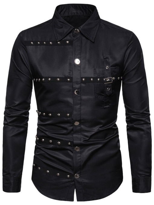 Fashion Rivet Lapel Button Plain Casua lSingle-Breasted Men's Shirt