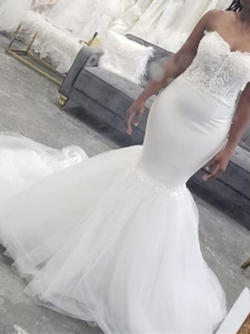 Strapless Appliques Mermaid Wedding Dress 2019