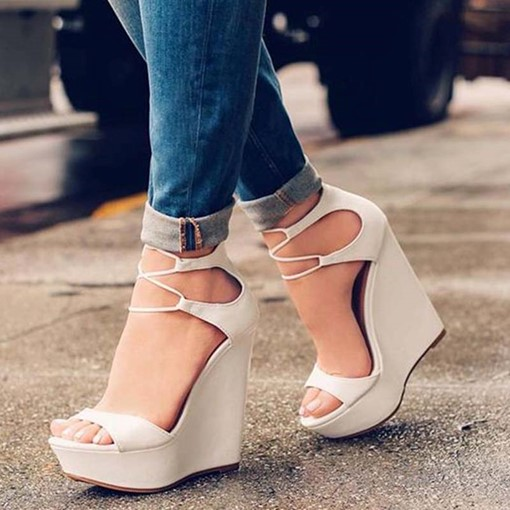 Cusomized Open Toe Heel Covering Wedge Heel Sandals