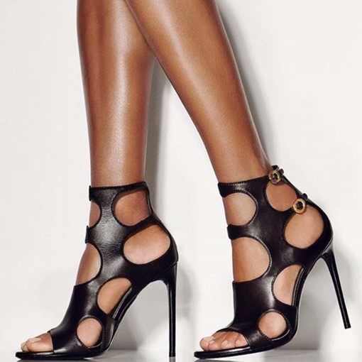 Open Toe Cusomized Heel Covering Stiletto Heel Buckle Sandals