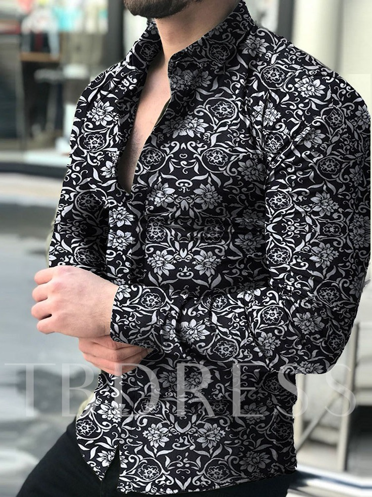 Lapel Casual Button Floral Single-Breasted Men's Shirt