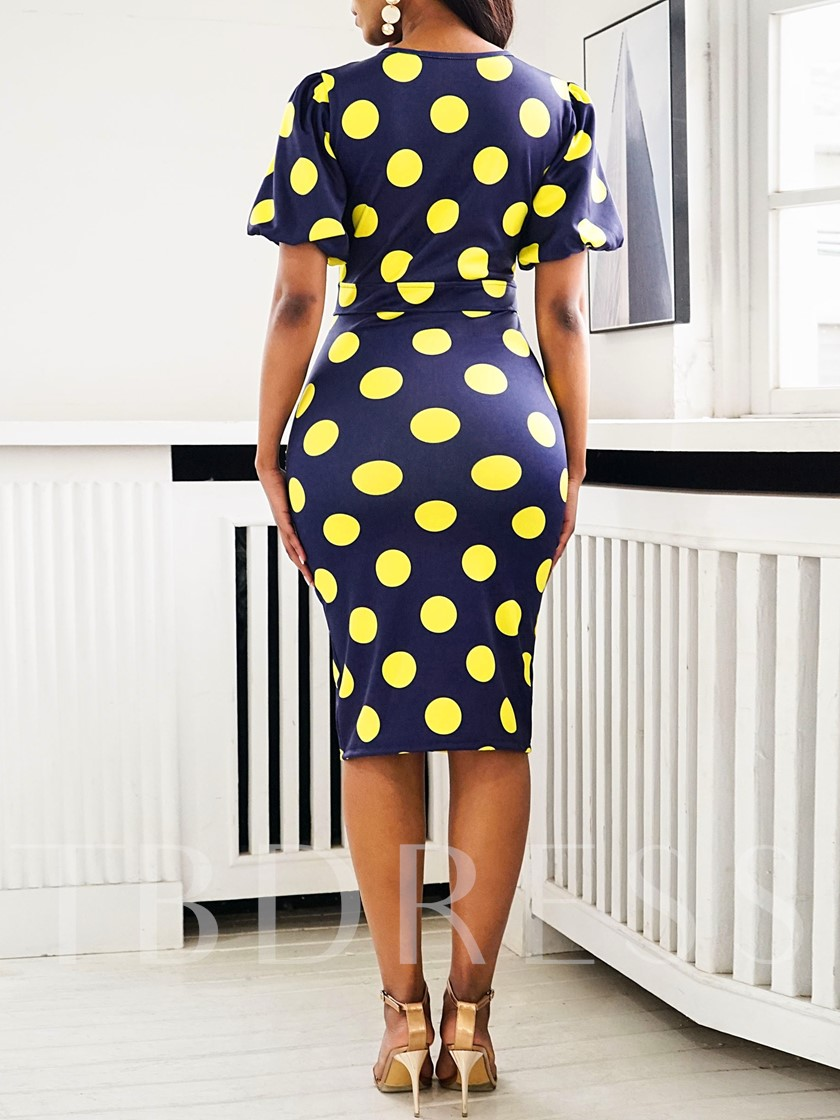 African Fashion Short Sleeve Polka Dots Print Women's Bodycon Dress