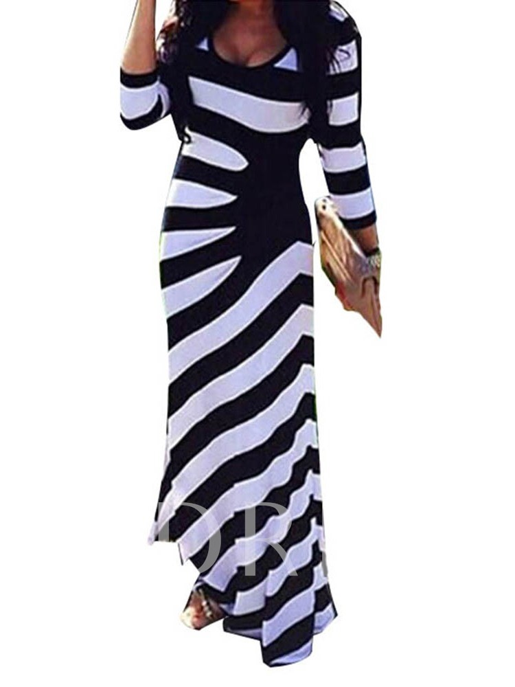 African Fashion Stripe Three-Quarter Sleeve Print Pullover Women's Maxi Dress