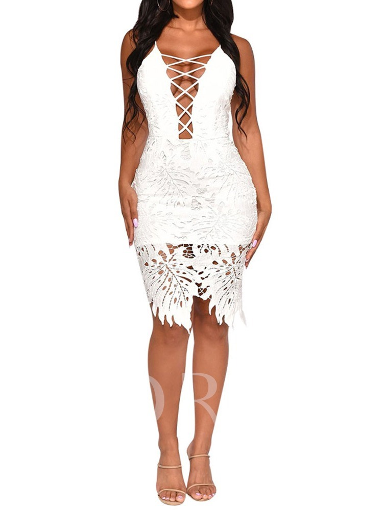 Lace Sleeveless Spaghetti Strap Women's Bodycon Dress