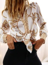 Color Block Print Lapel Long Sleeve Women's Shirt