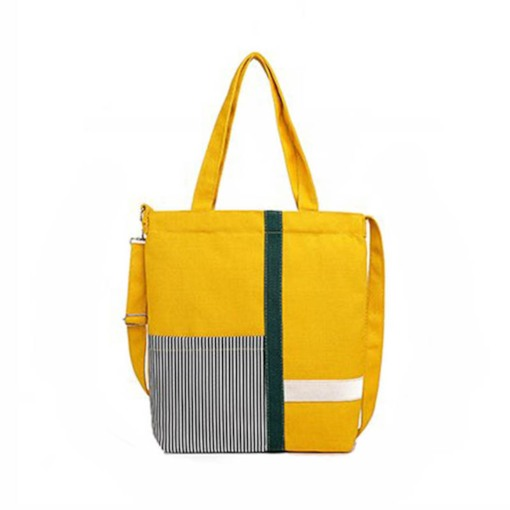 Canvas Color Block Shoulder Bags