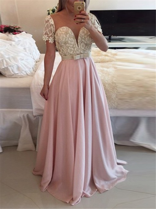 Sweep Train Floor-Length A-Line Scoop Evening Dress 2019