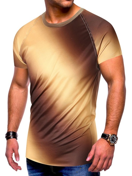 Round Neck Gradient Casual Short Sleeve Men's T-shirt