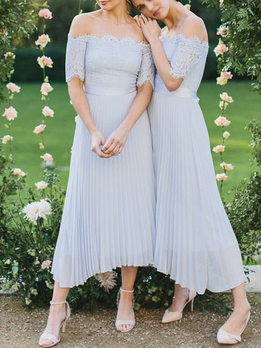 Ruched Short Sleeves Off-The-Shoulder Bridesmaid Dress 2019